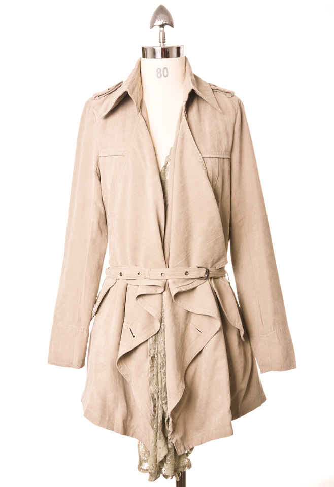 Lacy Ruffle Belted Trench coat by Chic+