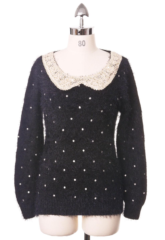 Glisten Collar Fluffy Polka Dots Navy Top