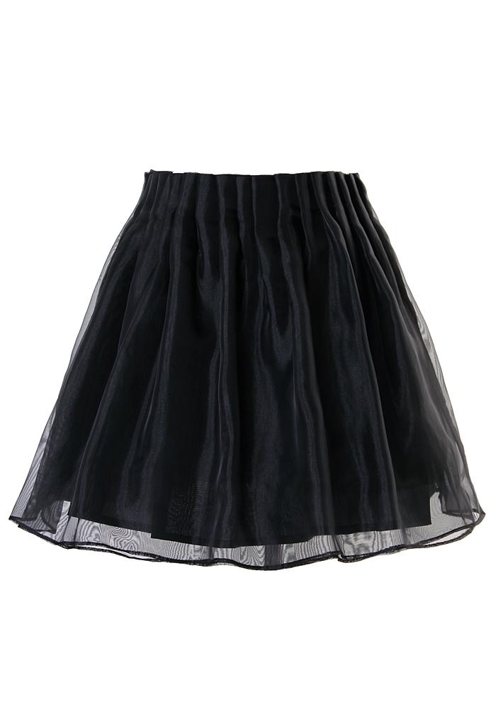 Organza Mini Skater Skirt in Black