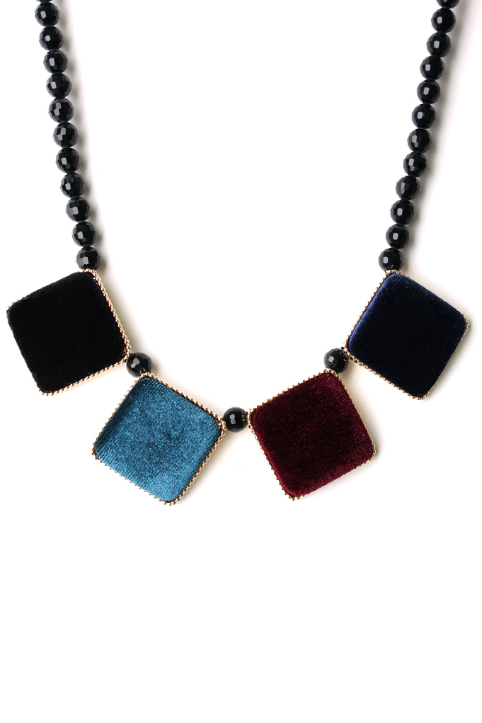 Velvet Square Gold Trim Beads Necklace in Multi Color