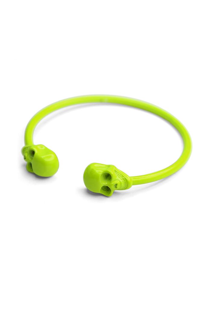 Neon Twin Skull Bangle Bracelet