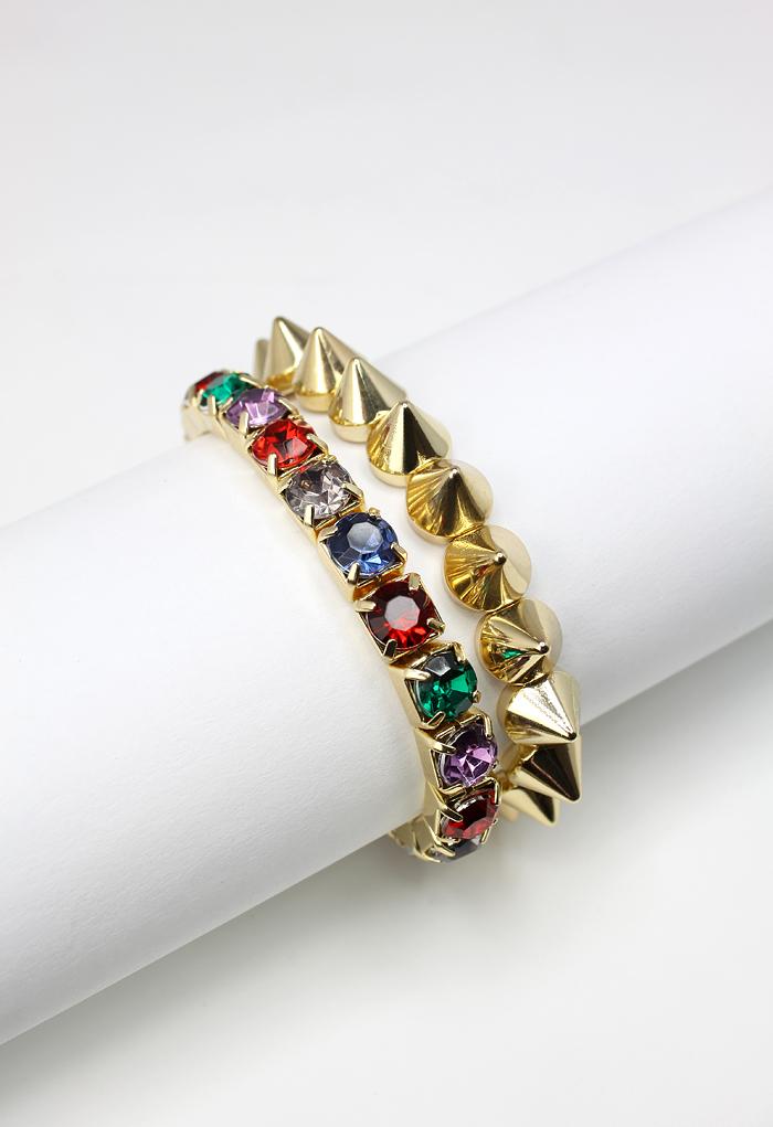 Diamond Spike Twin Bracelets