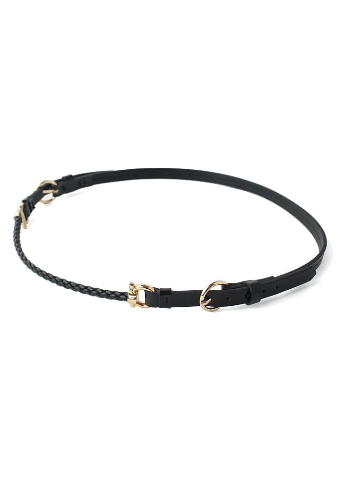 Knit Faux Leather Belt