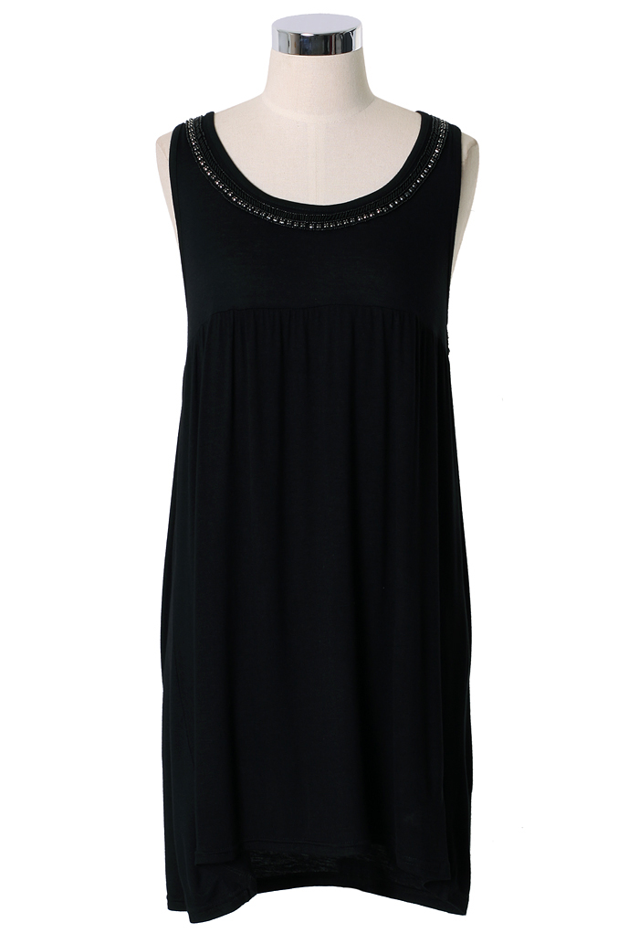 Beads Embellished Tunic Top in Black