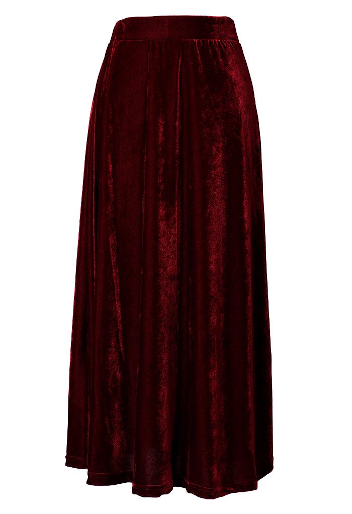 Velvet Pleated Maxi Skirt in Wine Red
