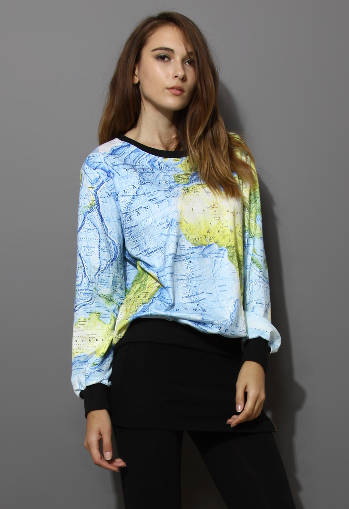 Map Print Sweater
