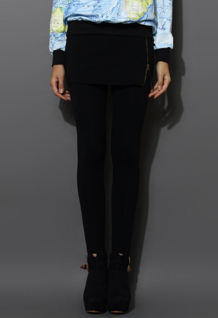 Zip Bud Skirt with Leggings in Black
