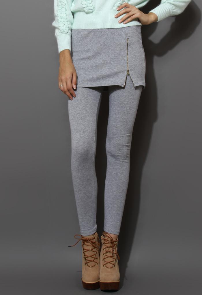 Zip Bud Skirt with Leggings in Grey