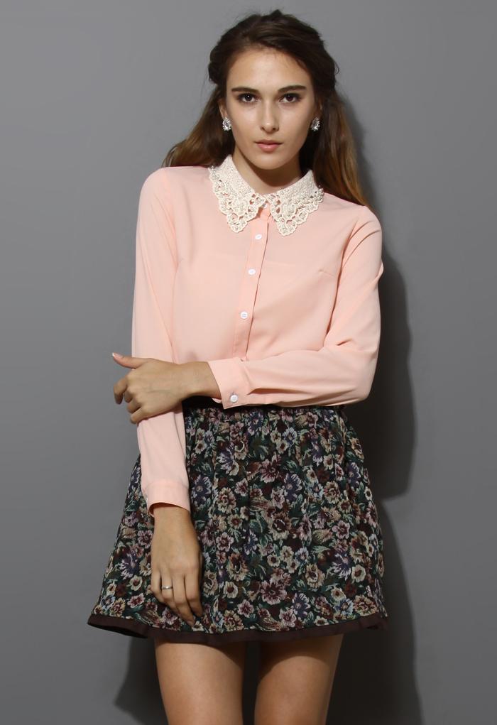 Crochet Pearl Collar Chiffon Shirt in Pink