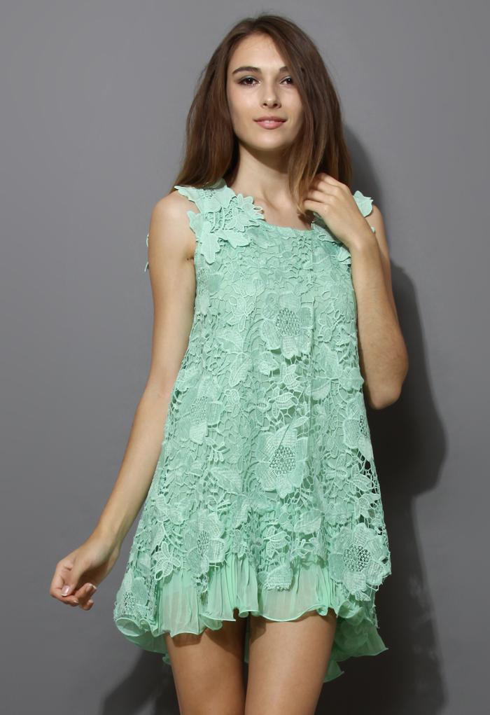 Full Crochet Floral Mint Dress with Fluted Hemline
