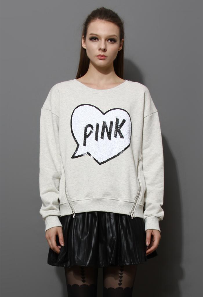 Sequins Heart Zip Sweater in Grey