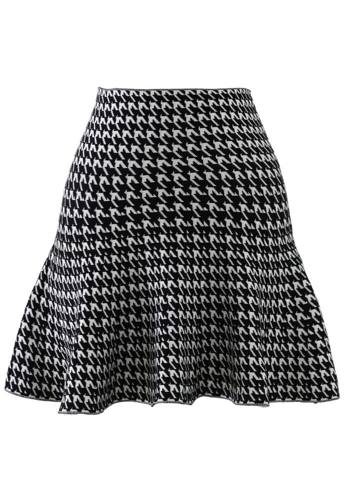 Houndstooth Frill Hem Knittted Skirt