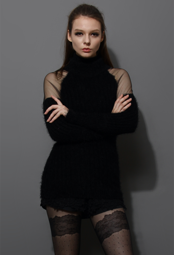 Polo Neck Fluffy Black Sweater