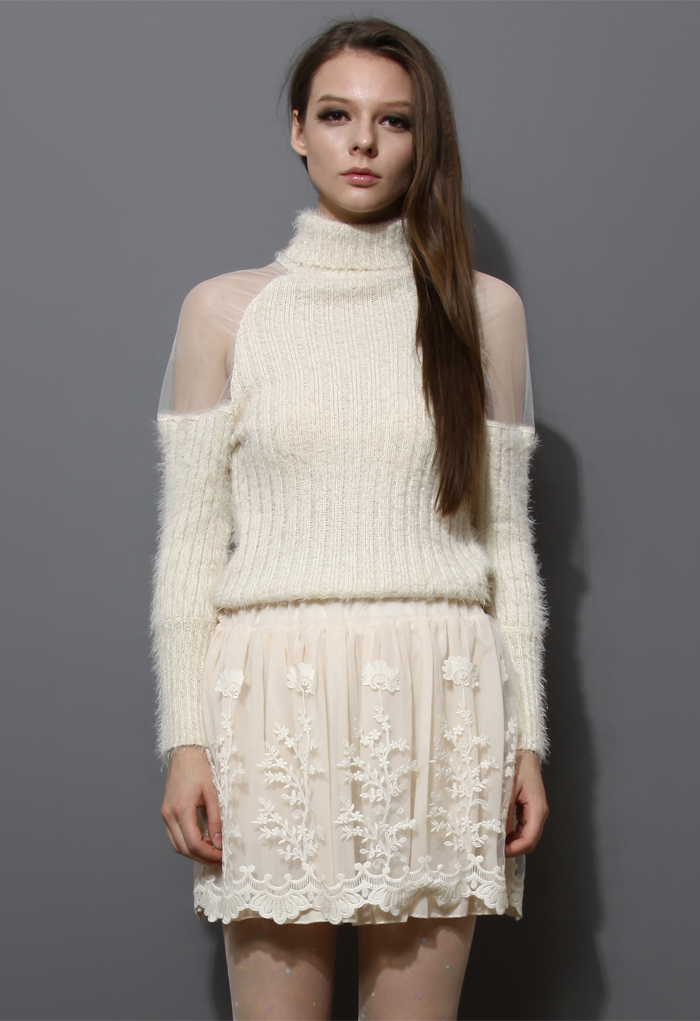 Polo Neck Fluffy Ivory Sweater