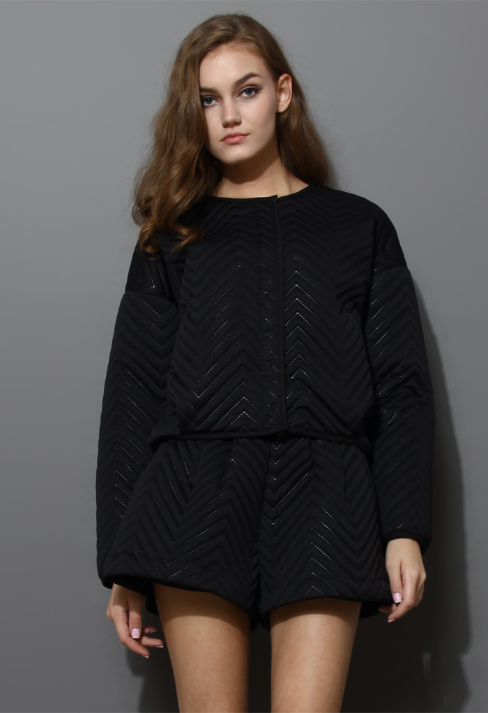 Zig Zag Quilted Black Jacket and Short Set