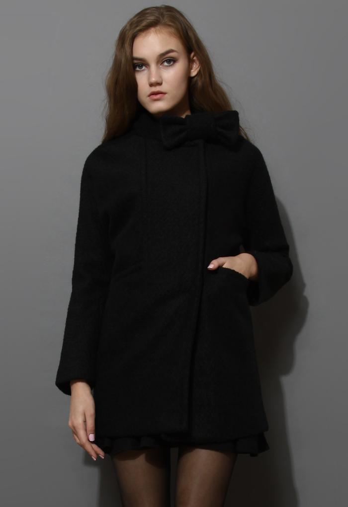 Wool-Felt Tweed Coat with Bowknot in Black
