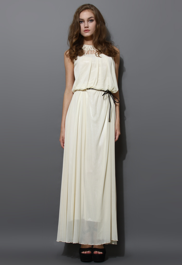 Cage Cut Out Neckline Maxi Dress in Ivory