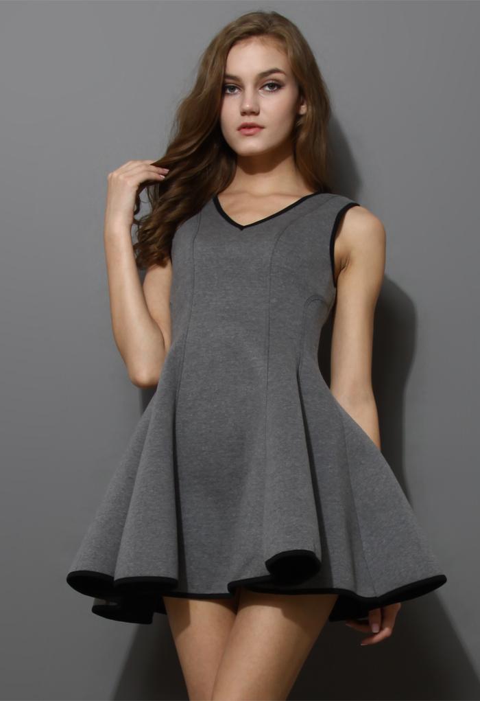 V-neck Skater Dress in Grey