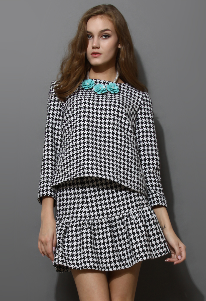 Houndstooth Top and Frill Hem Skirt Set