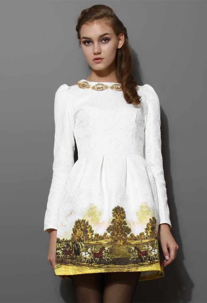 Scenic Print Jacquard Dress