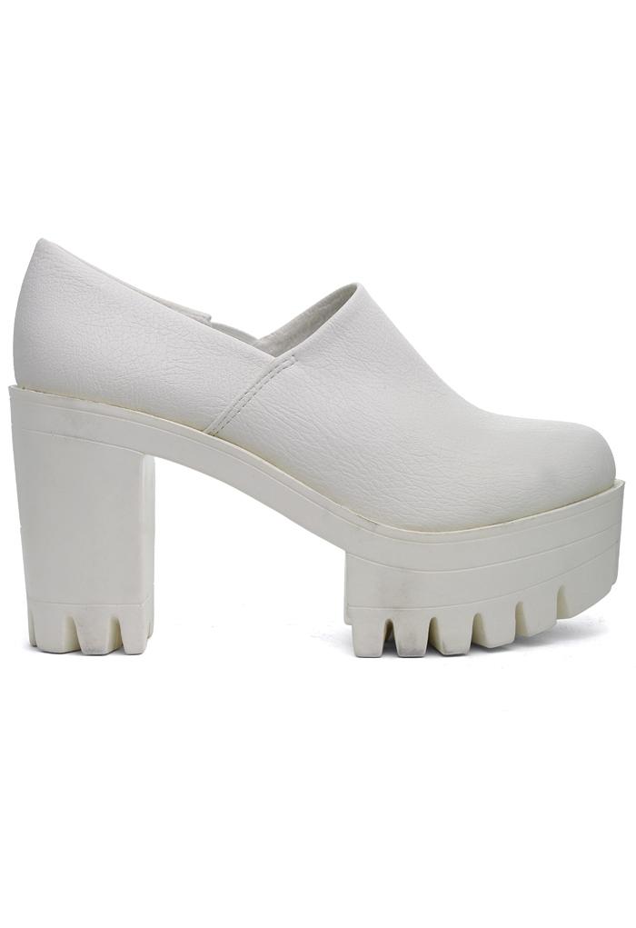 White Platform Slip-On Boots
