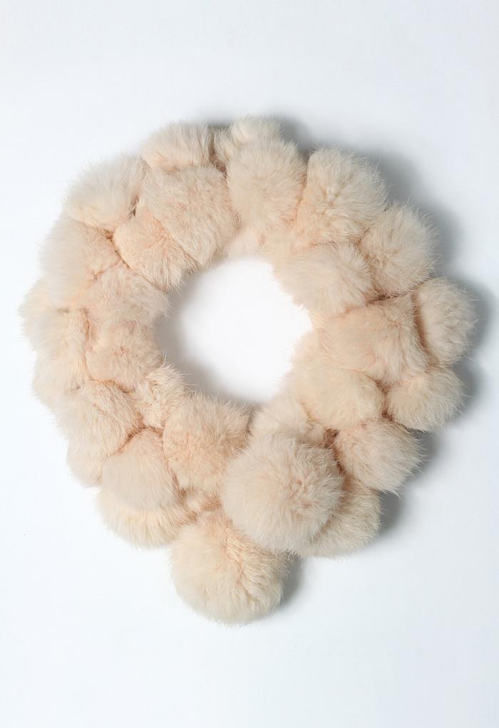 Faux Fur Bobble Scarf in Peach