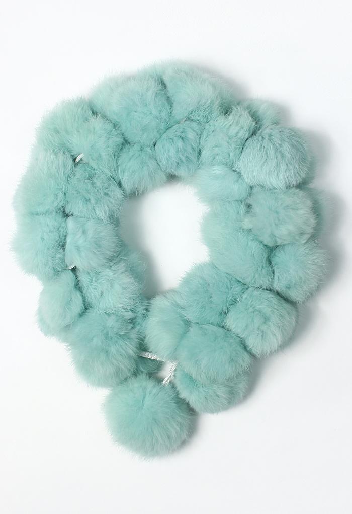 Faux Fur Bobble Scarf in Mint