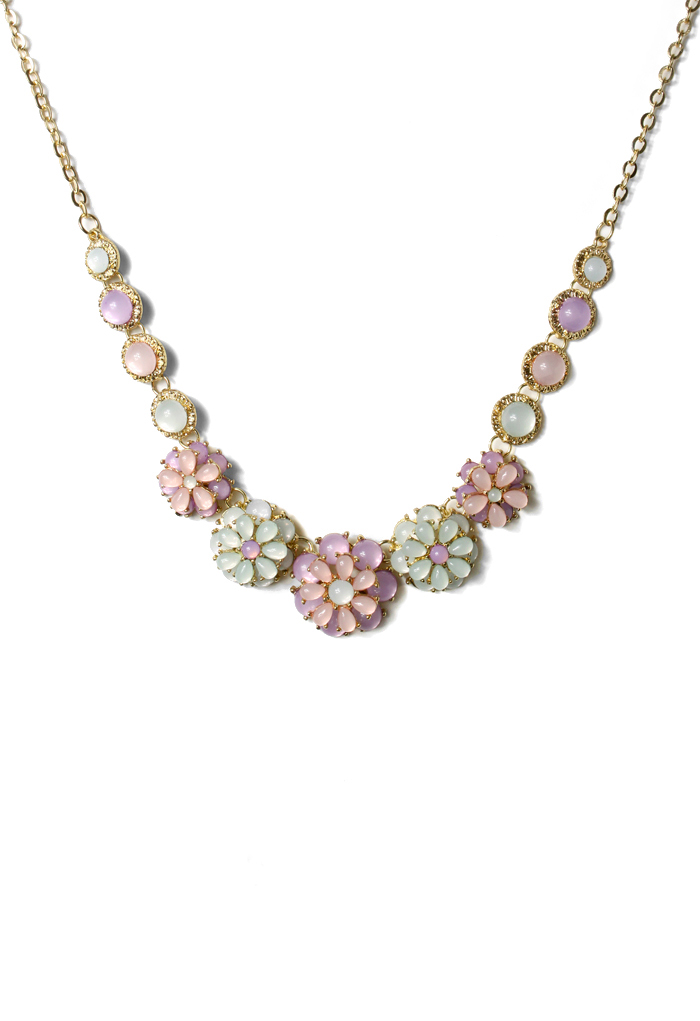 Plated Multi-Stone and Floral Beaded Necklace