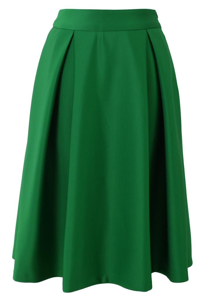 Full A-line Midi Skirt in Green