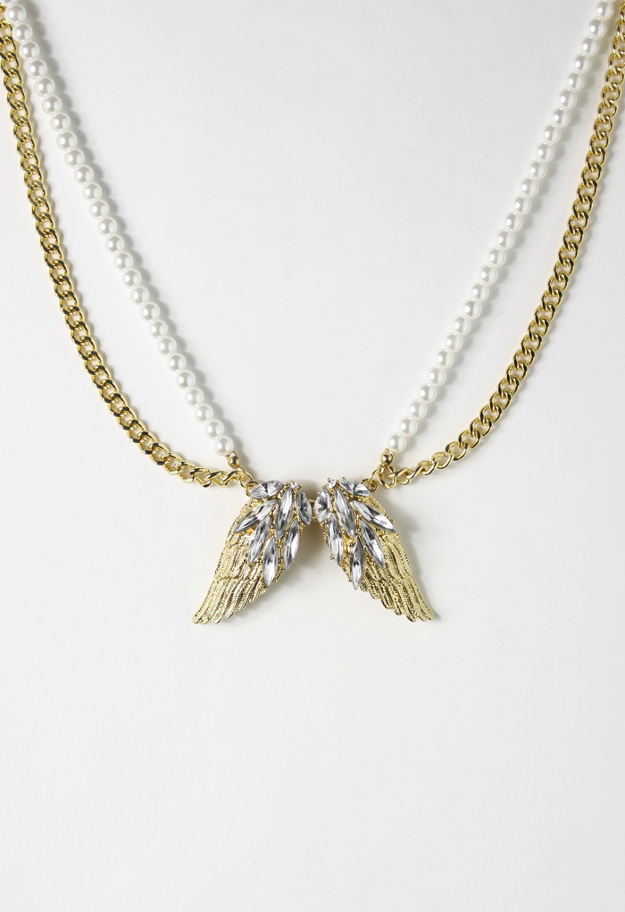 Angel Wings Shape Crystal Necklace