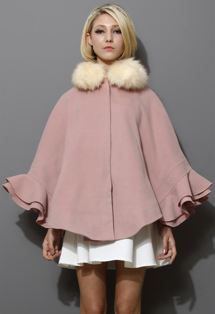 Detachable Faux Fur Collar Ruffle Cape in Pink