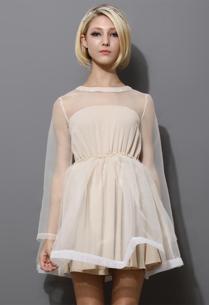 Dreamy Sheer Crepe Panel Dress in Nude