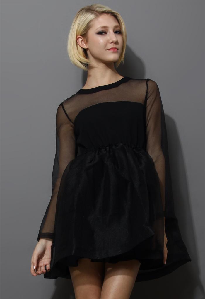 Dreamy Sheer Crepe Panel Dress in Black