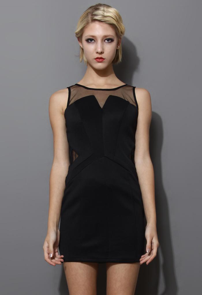 Black Mesh Paneled Sleeveless Dress
