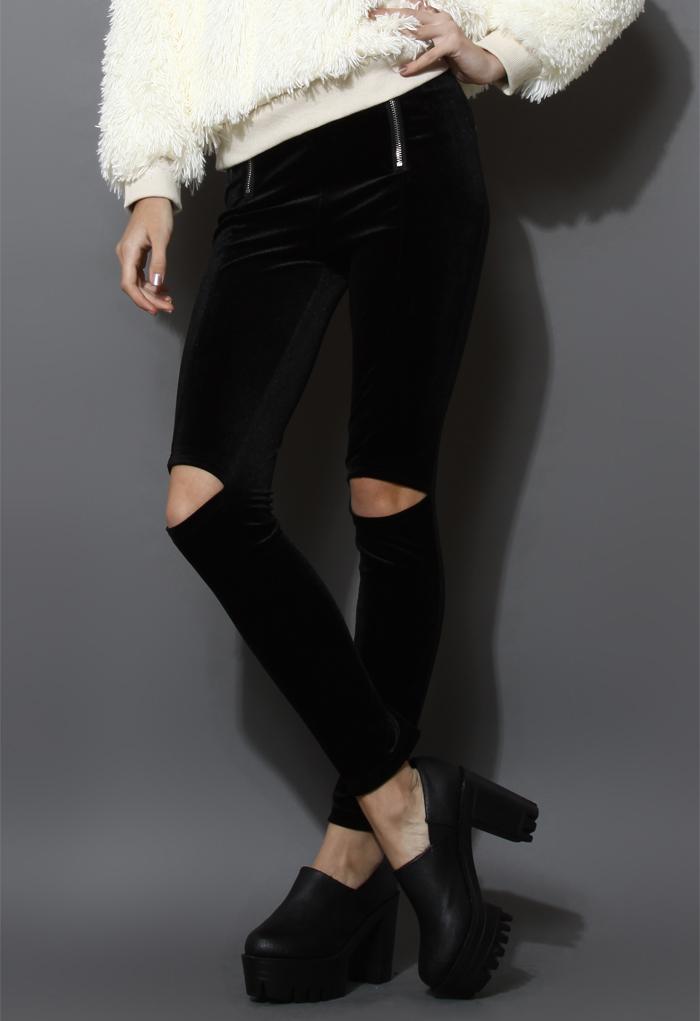 Cut Out Velvet Legging in Black