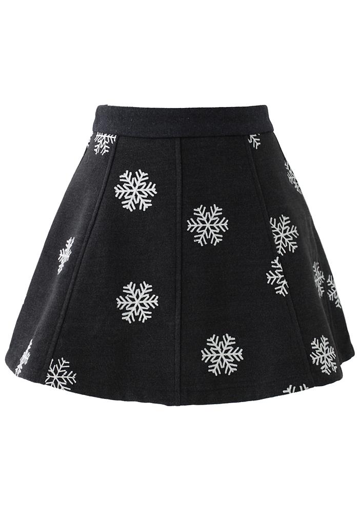 Snowflake Embroidered Skirt