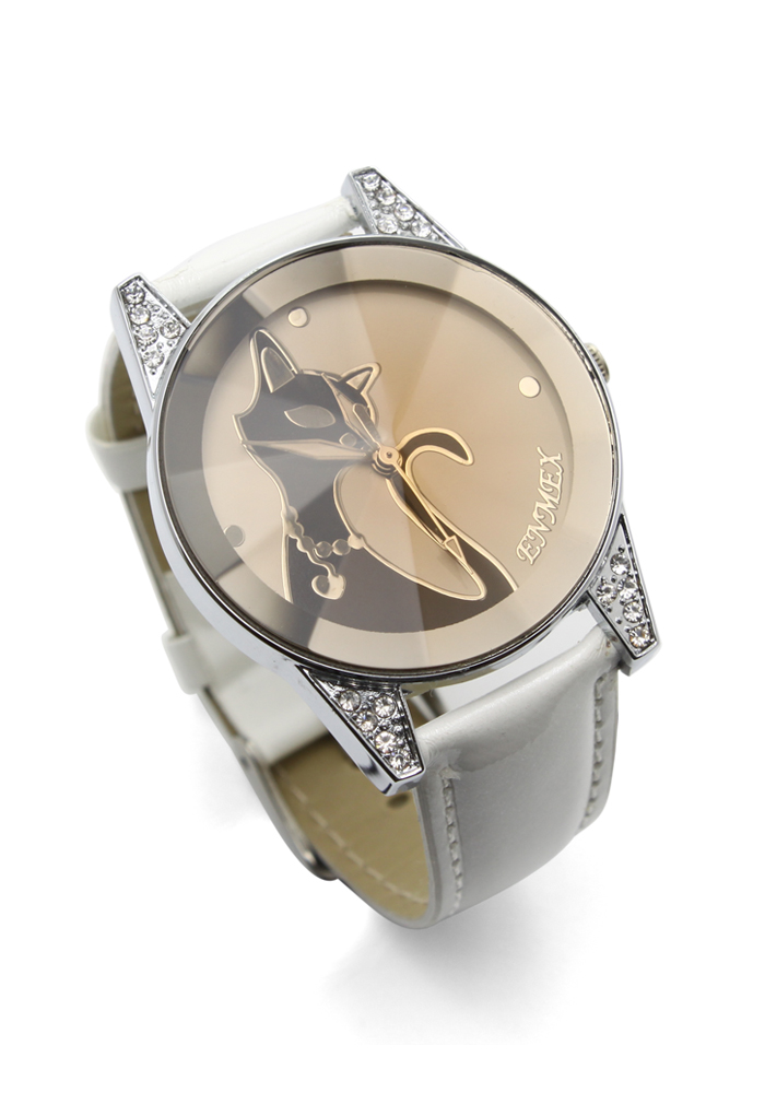 Grace Cat Crystal Decor Watch in White