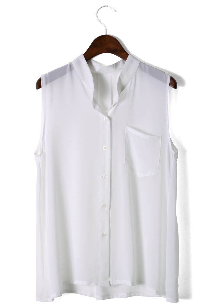 Laidback Pocket Chiffon Top in White