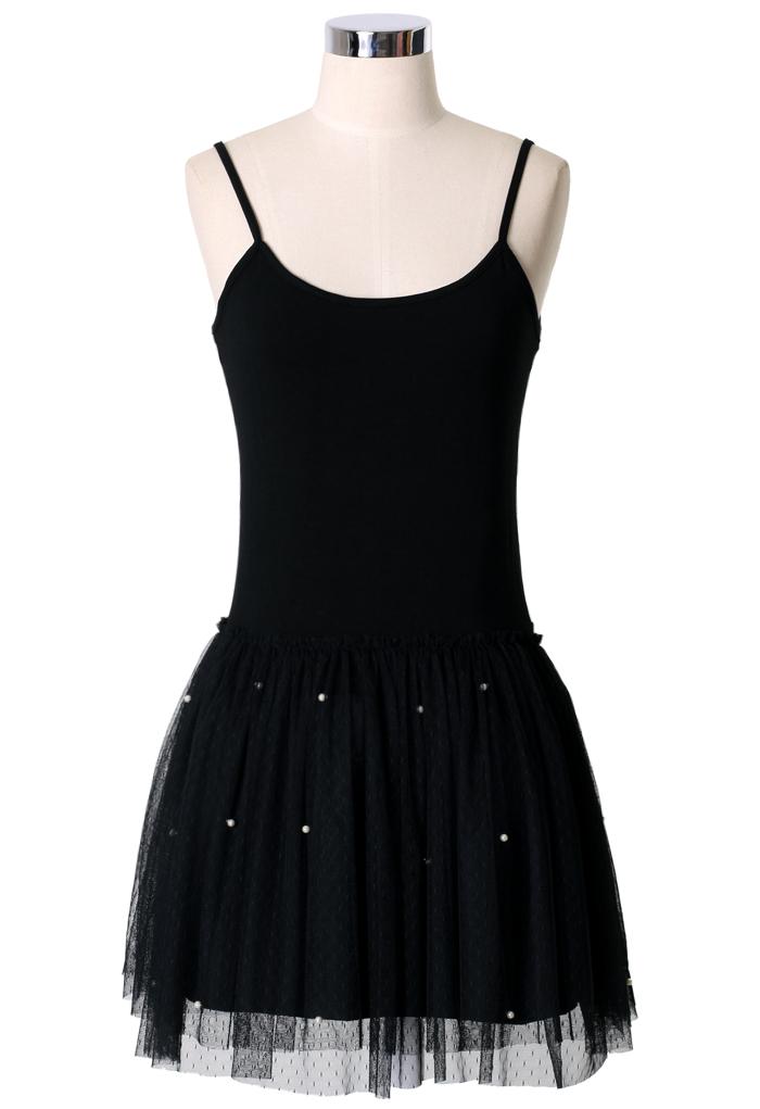 Pearl Ballet Tulle Dress in Black