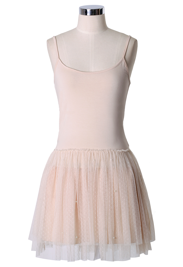 Pearl Ballet Tulle Dress in Nude
