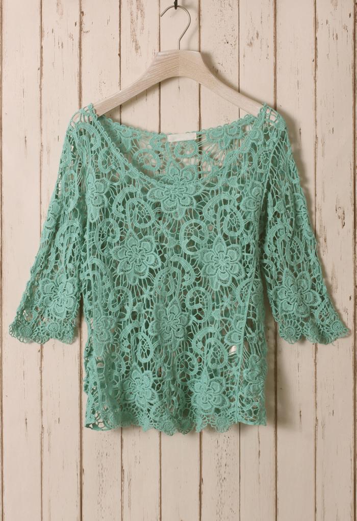 Green Floral Mid-Sleeves Crochet Top