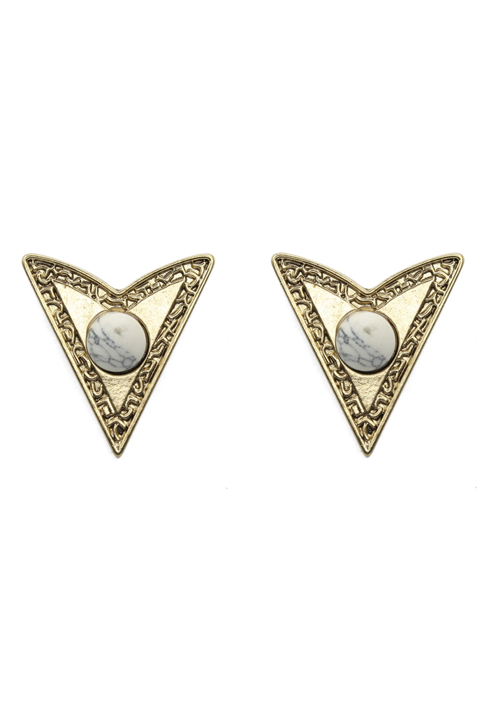 Dart Shape Collar Studs with White Beads