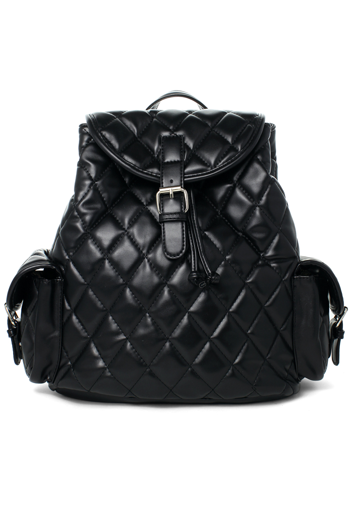 Black Quilt Backpack Bag With Punchout Detail