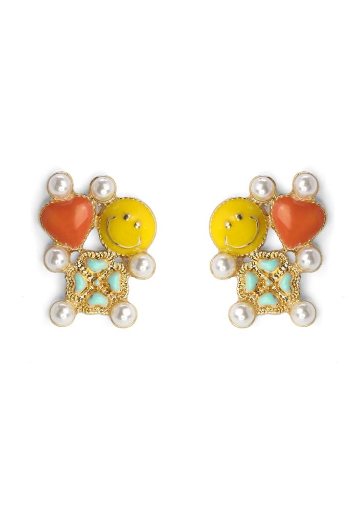 Smile Face Clover Heart Earrings