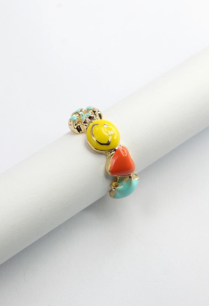 Smile Face Clover Heart Ring