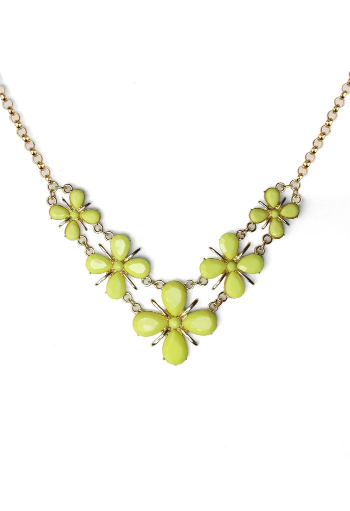 Premium Clover Jewelled Bib Necklace