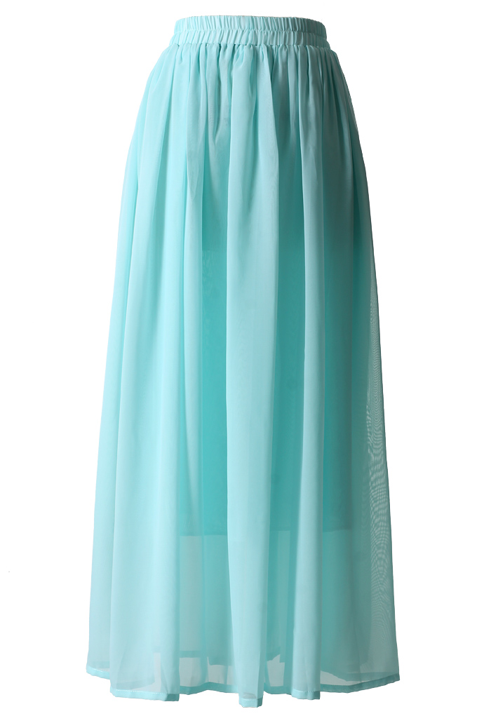 Mint Blue Pleated Maxi Skirt