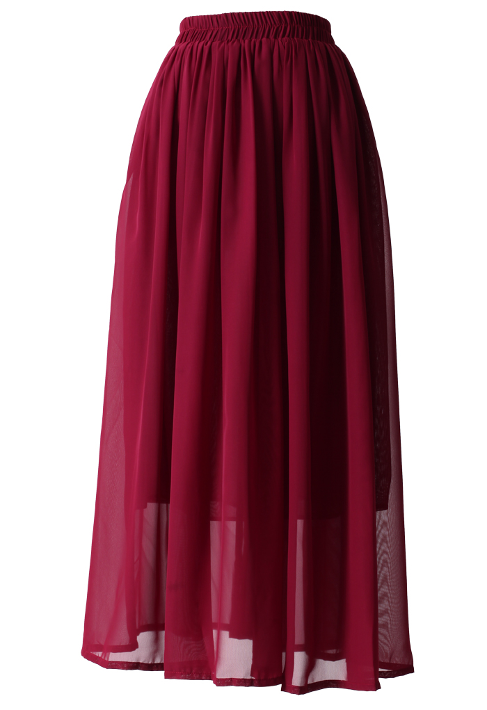 Wine Red  Pleated Maxi Skirt