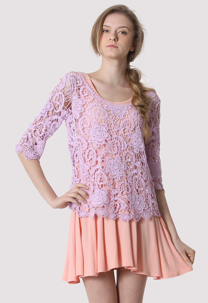 Purple Floral Mid-Sleeves Crochet Top