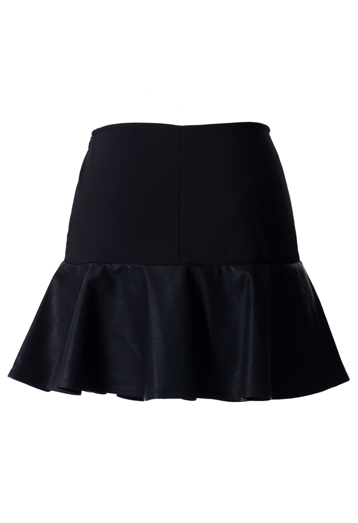Black Faux Leather Skirt With Frill Hem